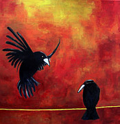 Blackbirds Painting Posters - Crow on a Wire Poster by Terrie Yeatts