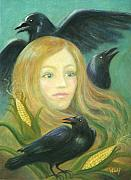 Corn Paintings - Crow Queen by Bernadette Wulf