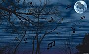 Digital Art Pastels Prints - Crow sings at midnight Print by Evelyn Patrick