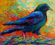 Crows Paintings - Crow Solo I by Marion Rose