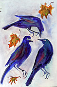 Crows Paintings - Crow Talk by Doris Blessington