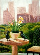 Crows Paintings - Crow Talk by Pauline Ross