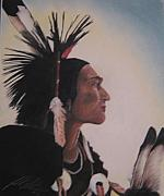 Native American Pastels - Crow Warrior by John Huntsman
