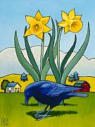 Crow Art Framed Prints - Crow with Daffodils Framed Print by Stacey Neumiller