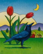Raven Moon Prints - Crow with Red Tulips Print by Stacey Neumiller