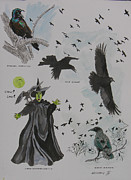 Crows Paintings - Crow Womans Watch by Robert P Hedden