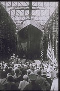 1940-1949 Prints - Crowd At Dry Dock Launches Ship, Circa 1940 Print by Archive Holdings Inc.