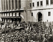Stock Markets Framed Prints - Crowd Gathers Outside The New York Framed Print by Everett