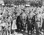 Uniforms Metal Prints - Crowd Of Germans Adults And Children Metal Print by Everett