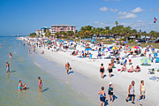 Suntan Metal Prints - Crowd on a Summer Beach in Ft Meyers Florida Metal Print by ELITE IMAGE photography By Chad McDermott