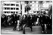 Crowds  Prints - Crowd Surveillance Print by John Rizzuto