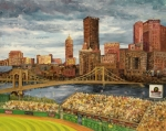 Pnc Park Painting Prints - Crowded at PNC Park Print by E E Scanlon