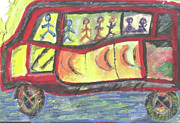 Rainy Day Mixed Media - Crowded Bus by Joseph  F