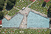 Recreational Pool Prints - Crowded Open Air Pools, Aerial View Print by Bernhard Lang