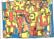 Neo Expressionism Art - Crowds Of Yellow by Robert Wolverton Jr