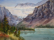 Glacier Paintings - Crowfoot Glacier Banff Watercolour by Mohamed Hirji