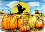 Harvest Drawings - Crowing about the harvest by Marsha Hale
