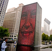 Installation Art Framed Prints - Crown Fountain Delight Chicago  Framed Print by Frank Winters