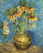 Flower Still Life Painting Posters - Crown Imperial Fritillaries in a Copper Vase Poster by Vincent Van Gogh