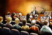Lawyer Drawings - Crown Kevin Gowdey delivers opening address at the Rafferty trial by Alex Tavshunsky