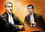 Michael Drawings Posters - Crown Michael Carnegie versus Defence lawyer Dirk Derstine at the Rafferty Trial Poster by Alex Tavshunsky