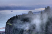 River Views Posters - Crown Point Vista House Fog Columbia River Gorge Oregon Poster by Dustin K Ryan