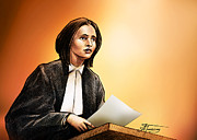 Lawyer Drawings - Crown Stephanie Venne reads Daryns statement at the Raffertys sentencing by Alex Tavshunsky