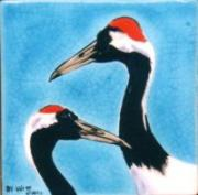 Cranes Ceramics - Crowned Cranes in Crackle by Dy Witt