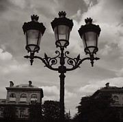 Black And White Paris Metal Prints - Crowned Luminaires in Paris Metal Print by Carol Groenen