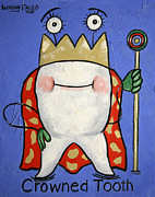 Tooth Mixed Media Prints - Crowned Tooth Print by Anthony Falbo