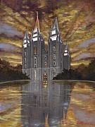 Salt Lake Temple Prints - Crowned with Glory Print by Jeff Brimley