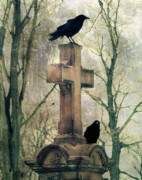 Starlings Digital Art Metal Prints - Crows And Old Cross Metal Print by Gothicolors And Crows