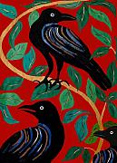 Printmaking Mixed Media Framed Prints - Crows Framed Print by Ariela Boronat