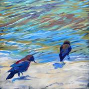 Crows Paintings - Crows at the Beach 2 by Pam Van Londen