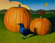 Pumpkin Posters - Crows Harvest Poster by Stacey Neumiller