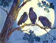 Crows Prints - Crows in Moonlight Print by Peggy Wilson