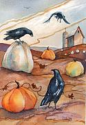 Crows Prints - Crows in the Pumpkin Patch Print by Peggy Wilson