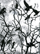 Crows In Winter - Monotype Print by Rachel Breen