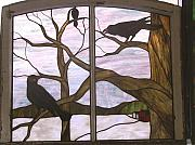 Crows Glass Art - Crows by Jane Croteau
