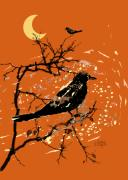 All Hallows Eve Prints - Crows On All Hallows Eve Print by Arline Wagner