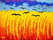 Impressionism Acrylic Prints Metal Prints - Crows Over Vincents Field Metal Print by John  Nolan