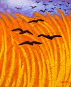 Impressionism Acrylic Prints Art - Crows Over Vincents Wheat Field Reworked by John  Nolan