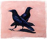 Acrylics Framed Prints - Crows Framed Print by Sandi Baker