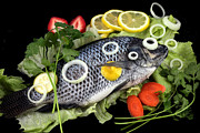 Cooking Fish Posters - Crucian fish with vegetable Poster by Paul Ge
