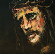 Catholic Paintings - Crucified Jesus by Carole Foret