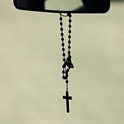 Rosary Framed Prints - Crucifix and mirror Framed Print by Lars Hallstrom