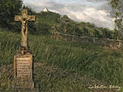 Mountain Road Mixed Media Posters - Crucifix by the roadside Poster by Nikolay Vakatov