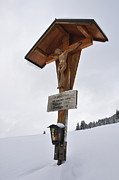 Wayside Photos - Crucifix in winter landscape by Matthias Hauser