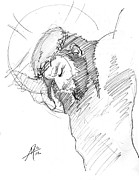 Miguel Art Drawings - Crucifixion 3 by Miguel De Angel