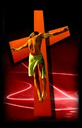 Christian Artwork Painting Originals - Crucifixion by Earl Jackson